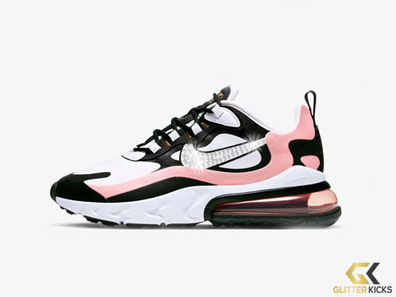 Womens Nike Air Max 270 React + Crystals - Black/Bleached Coral/Metallic Gold/White