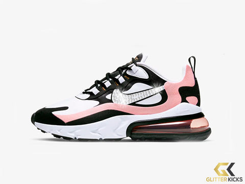 Nike Air Max 270 React + Crystals - Black/Bleached Coral/Metallic Gold/White