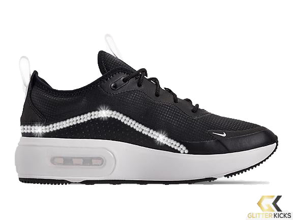 Nike Air Max Dia Casual Shoes + Crystals - Black/Summit White/Summit White