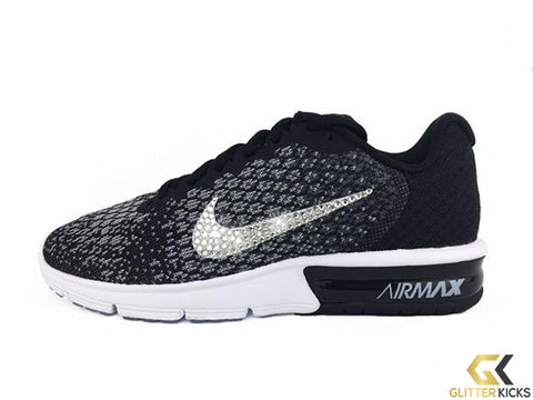 Sale - Nike Air Max Sequent + Crystals - Black/White
