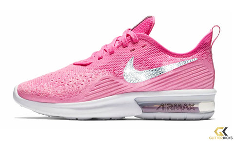 Nike Air Max Sequent 4 + Crystals - Laser Fuchsia Psychic Pink f63bad705