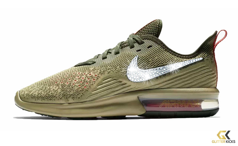 Nike Air Max Sequent 4 + Crystals - Neutral Olive – Glitter Kicks a7939af72ec6
