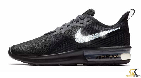 Nike Air Max Sequent 4 + Crystals - Triple Black 60b0e01cb