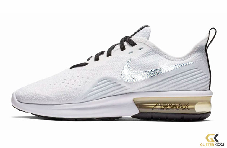 Nike Air Max Sequent 4 + Crystals - White Pale Ivory – Glitter Kicks d7b643c19d