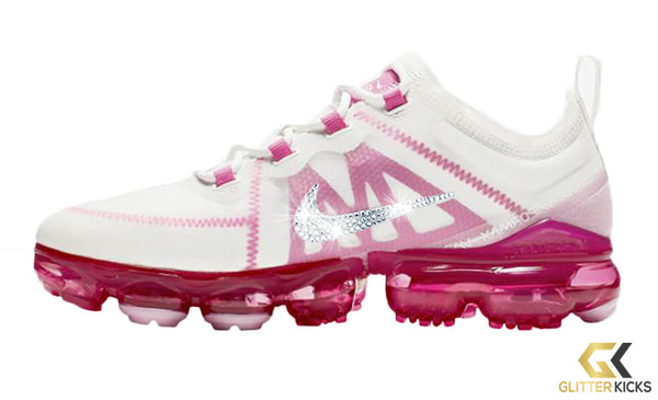 Nike Air VaporMax 2019 + Crystals - Summit White/Laser Pink