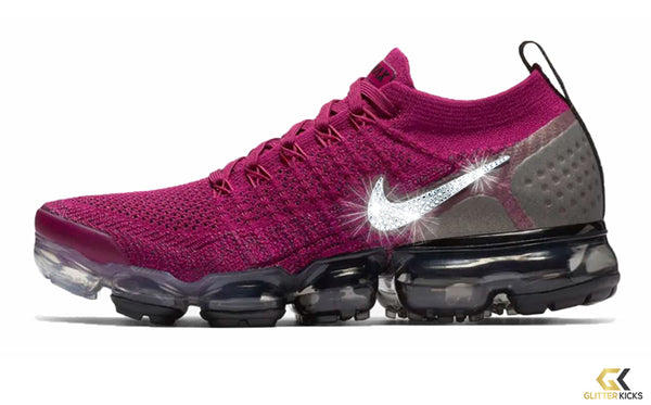 d84cf28335284 Nike Air VaporMax Flyknit 2 + Crystals - Raspberry Red Black – Glitter Kicks