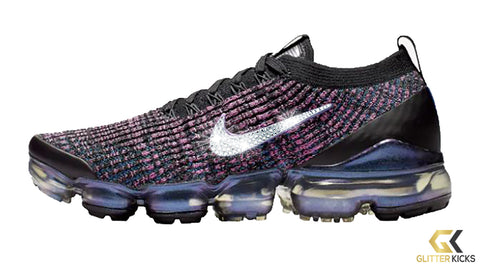 7332e4855ce Nike Air VaporMax Flyknit 3 + Crystals - Black/Racer Blue/Laser Fuchsia/