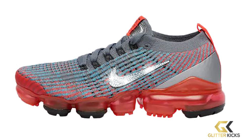 Nike Air VaporMax Flyknit 3 + Crystals - Flash Crimson/Black/Cool Grey/Blue Fury