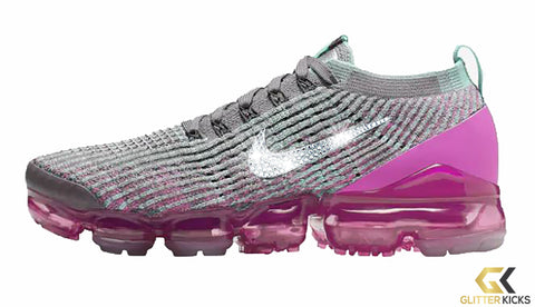 Nike Air VaporMax Flyknit 3 + Crystals - Gunsmoke/Black/Laser Fuchsia/Tropical Twist | UF