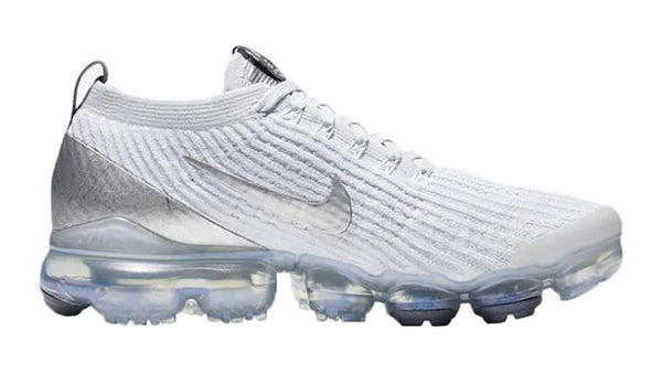 SALE - Women's Nike Air VaporMax Flyknit 3 + Crystals - White/Mtlc Silver/Pure Platinum/Dk Grey - Size 6.5