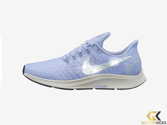 Womens Nike Air Zoom Pegasus 35 + Crystals - Aluminum/Sail/Black