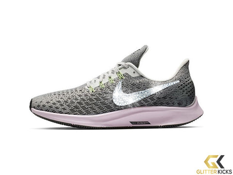 Nike Air Zoom Pegasus 35 + Crystals - Vast Grey Pink Foam Lime Blast 2631565b588d