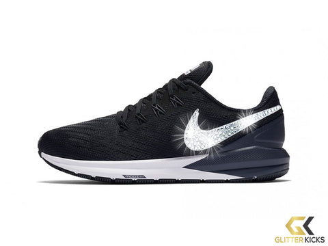 Women's Nike Air Zoom Structure 22 + Crystals - Black/Gridiron/White