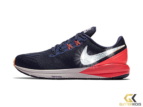 Nike Air Zoom Structure 22 + Crystals - Blackened Blue/Flash Crimson/Moon Particle/Orange Peel