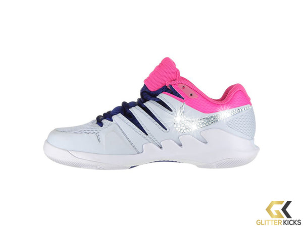 Nike Court Air Zoom Vapor X + Crystals - Half Blue/White/Laser Fuchsia/Black