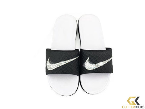 Women's Nike Benassi Solarsoft Slide Sandal + Crystals - Black/White