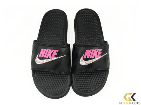 sports shoes 3a5b8 bbf03 Nike Benassi JDI Slide Sandal + Crystals - BlackVivid Pink