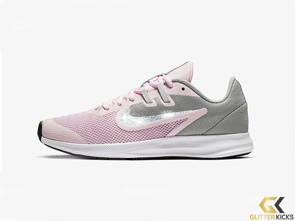 Girls' Nike Downshifter 9 + Crystals - Pink Foam/Metallic Silver/Pure Platinum/White - Big Kids (3.5y-7y)