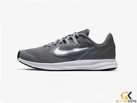 Girls' Nike Downshifter 9 + Crystals - Cool Grey/Wolf Grey/Black/Metallic Silver - Big Kids (3.5y-7y)