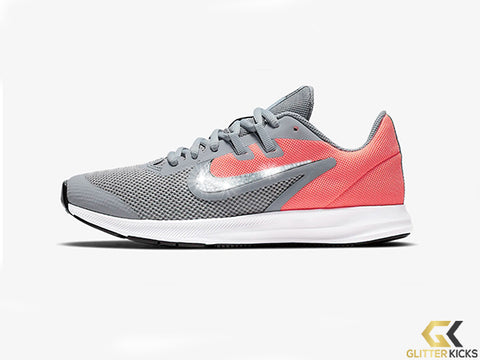 Girls' Nike Downshifter 9 + Crystals - Obsidian Mist/Lava Glow/White/Black - Big Kids (3.5y-7y)