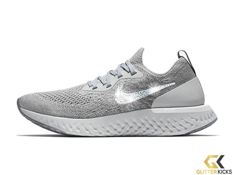Nike Epic React Flyknit + Crystals - Wolf Grey