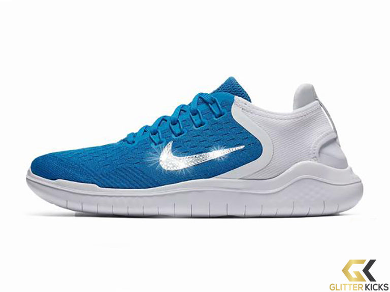 Nike Free RN 2018 + Crystals - Photo Blue – Glitter Kicks df70ae0d33