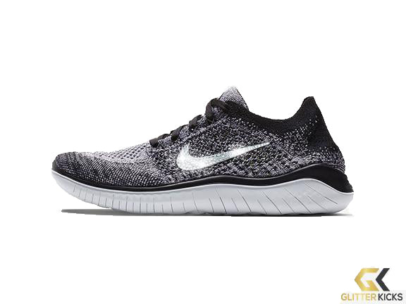 Nike Free RN Flyknit 2018 + Crystals - White/Black
