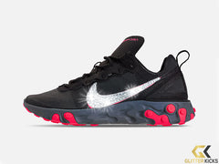 Nike React Element 55 Casual Shoe + Crystals - Black/Solar Red/Cool Grey/Dark Grey