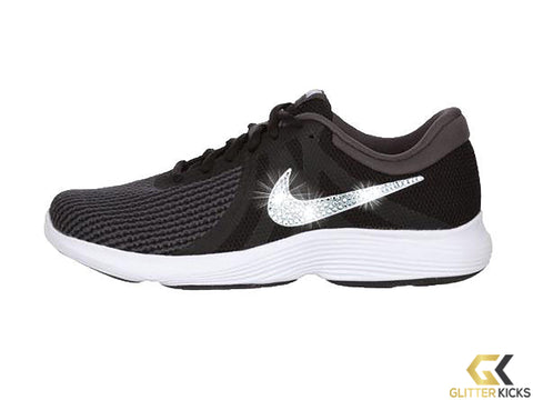 Women's Nike Revolution 4 + Crystals - Black/White