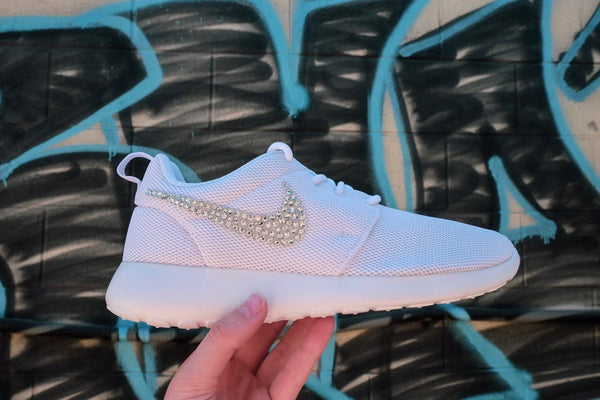 Sale - Girls' Nike Roshe One + Crystals - White/White - Size 3Y