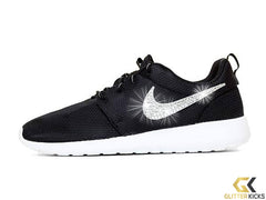 Girls' Nike Roshe One + Crystals - Black/White/Silver - Big Kids' (3.5y-7y)