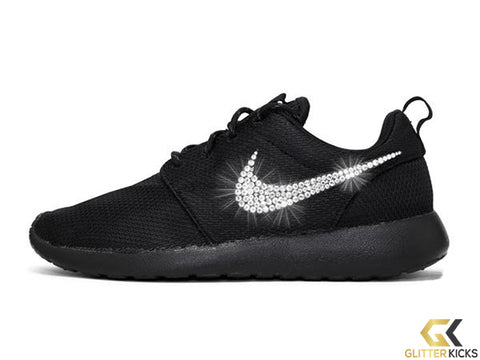 Women's Nike Roshe One + Crystals - Triple Black
