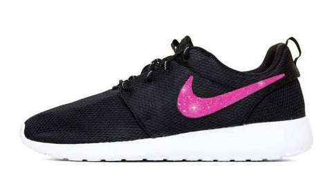 CLEARANCE - Nike Roshe One + Pink Glitter Vinyl Swoosh - Black White - M11 8cd40f8df