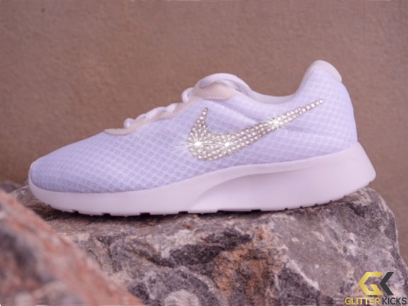Sale- Nike Tanjun + Crystals - White