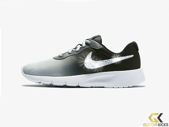 Girls' Nike Tanjun Print + Crystals - Oil Grey/Dark Grey/White/Metallic Cool Grey - Big Kids (3.5y-7y)