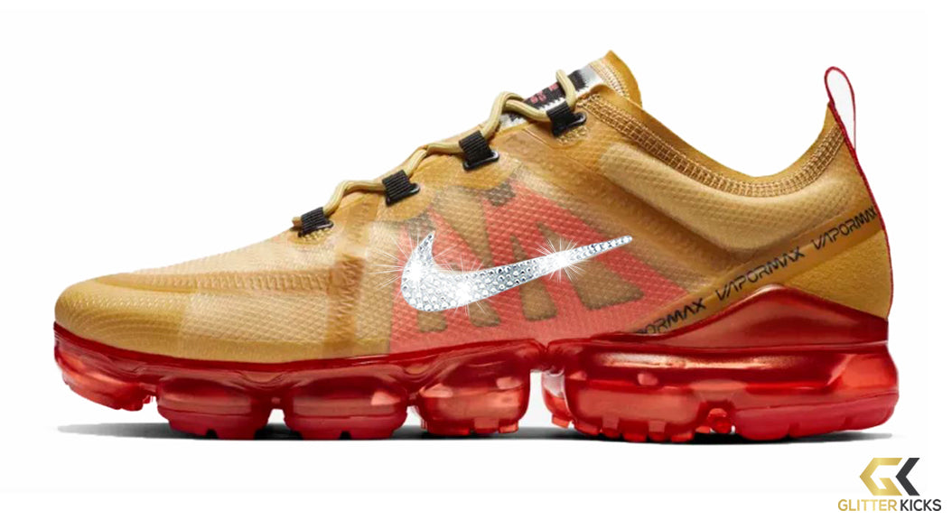 Nike Air VaporMax 2019 + Crystals - Club Gold Ember Glow – Glitter Kicks e40e814028