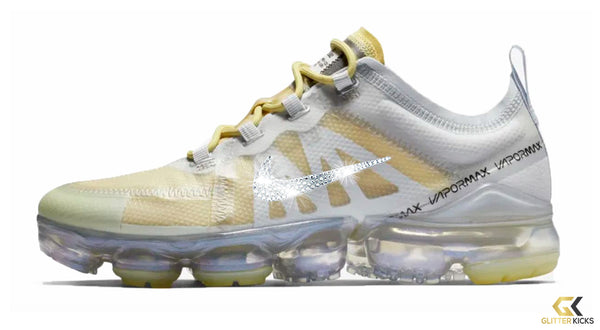 Women's Nike Air VaporMax 2019 + Crystals - White/ Gold