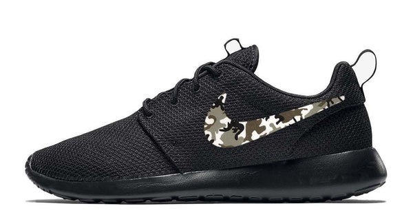 Nike Roshe One + Hand Customized Camo Print Swoosh - Black/Black (Men's)
