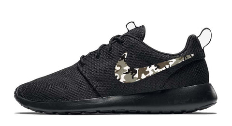 Mens Nike Roshe One + Hand Customized Camo Print Swoosh - Black/Black