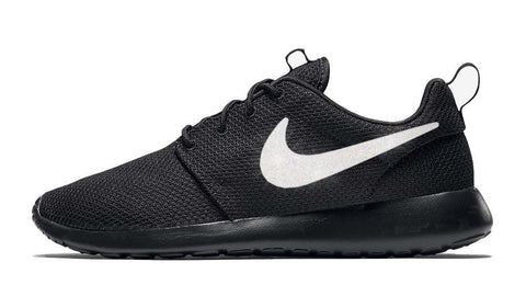 Nike Roshe One + Hand Customized Silver Glitter Swoosh - Black/Black