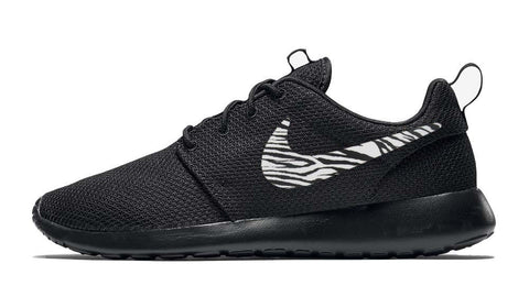 Nike Roshe One + Hand Customized Zebra Print Swoosh - Black/Black