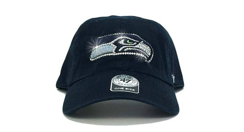 Seattle Seahawks '47 Brand Adjustable Cap + Custom Swarovski Crystals