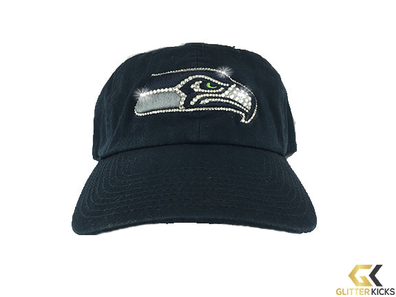 CLEARANCE - Seattle Seahawks '47 Brand Adjustable Cap + Crystals - SLIGHT FADING NEAR TOP OF LOGO (SEE ADDITIONAL PICTURES)