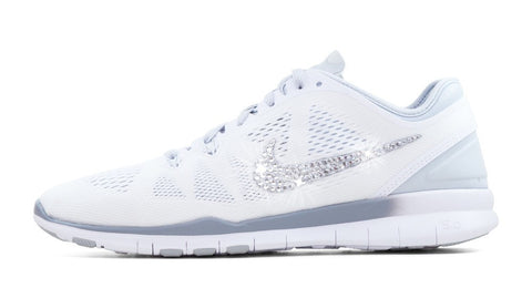 Nike Free Run TR Fit 5 + Crystallized Swarovski Swoosh - White/Grey - Glitter Kicks