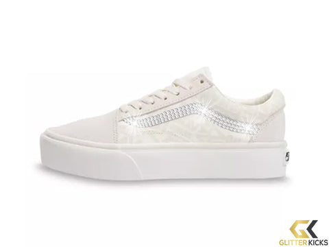 Womens Vans 66 Old Skool Platform + Crystals - Marshmellow