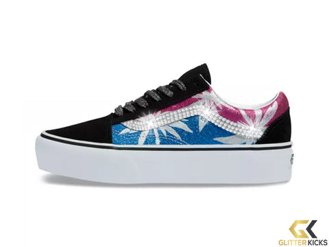 Womens Vans After Dark Old Skool Platform + Crystals - Summer Leaf/True White