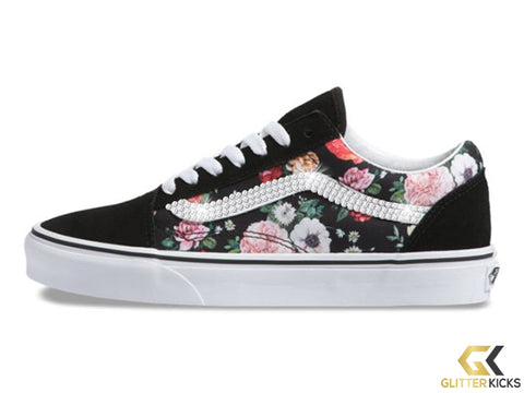 Women's Vans Garden Floral Old Skool + Crystals - Black/ True White