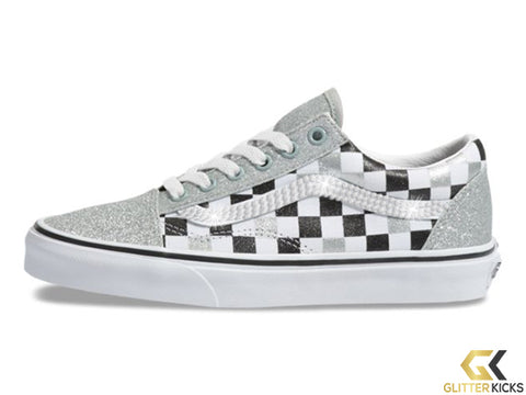 Women's Vans Checkerboard Old Skool + Crystals - Silver/True White