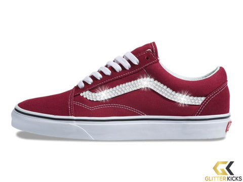 Women's Vans Old Skool + Crystals - Rumba Red/Off White