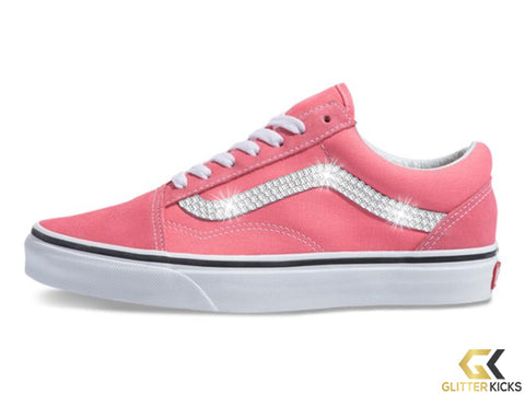 Women's Vans Old Skool + Crystals - Strawberry Pink/True White